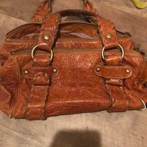 Kooba Brown pebbled leather handbag
